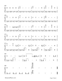 My Heart Will Go On-Titanic Theme Numbered Musical Notation Preview 2