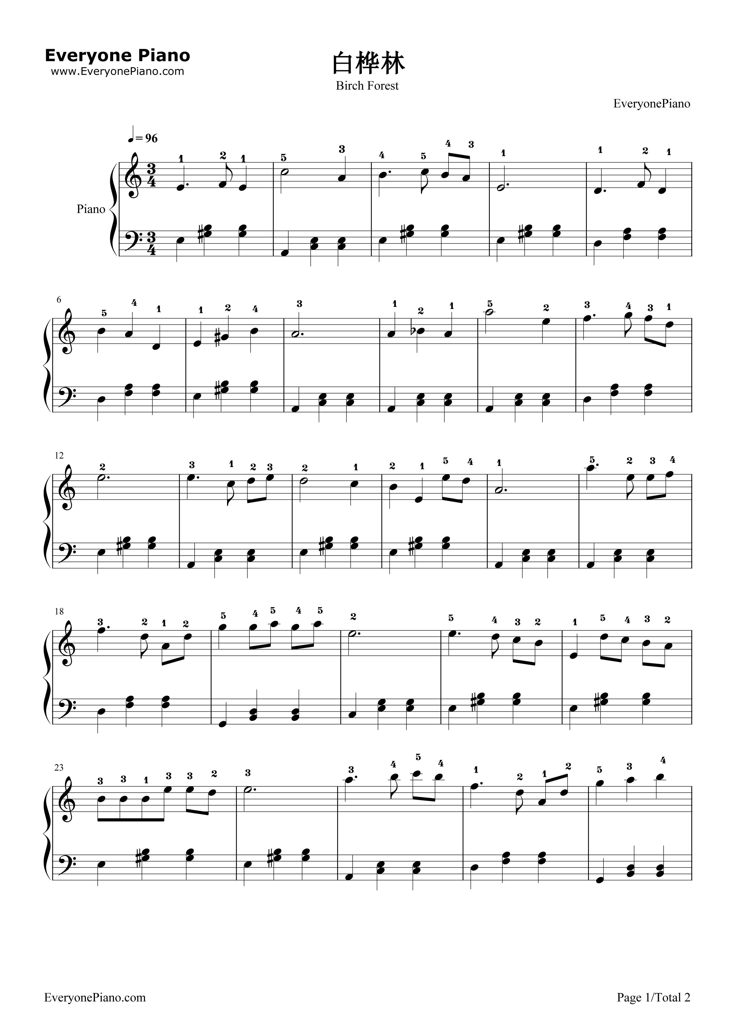 《白桦林钢琴谱》