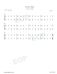 Twinkle Twinkle Little Star Medium Version Numbered Musical Notation Preview 1