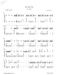 Let Her Go-Passenger Numbered Musical Notation Preview 1