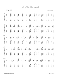 All of Me-John Legend Numbered Musical Notation Preview 1