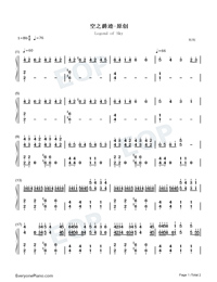 Legend of Sky-Original Music Numbered Musical Notation Preview 1