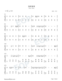 Baby Baby Numbered Musical Notation Preview 1