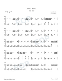Donna Donna-Dona Dona Numbered Musical Notation Preview 1