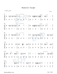 Wonderful Tonight-Eric Clapton Numbered Musical Notation Preview 1