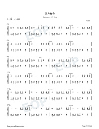 Because Of You-Easy Version-You Are My Hero Theme Numbered Musical Notation Preview 1