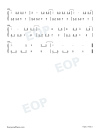 Because Of You-Easy Version-You Are My Hero Theme Numbered Musical Notation Preview 2